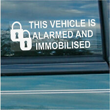 5 x Vehicle is Alarmed and Immobilised-PADLOCK-Internal Stickers-Car,Alarm,Safe