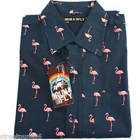 Run & Fly Mens Flamingo Print Short Sleeved Shirt Preppy Prep VTG Retro Indie
