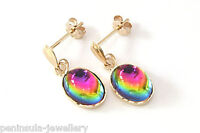 9ct Gold Rainbow Crystal Drop Oval Earrings Gift Boxed Made in UK