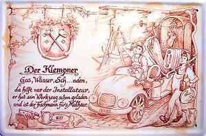 Beruf Klempner Blechschild Metallschild Schild gewölbt Metal Tin Sign 20 x 30 cm