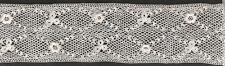 COIFFE DENTELLE FINE ANCIENNE POINT D' IRLANDE FAITE MAIN CROCHET D'ART 1m x8cm