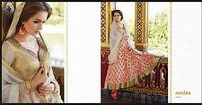 New Semi Stitched Anarkali Suit Maxi Modest Dress Scarf Trousers Indian Designer