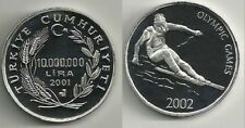 2001 Turkey Large Silver Proof 1000000 lira Winter Olympics Downhill Skier