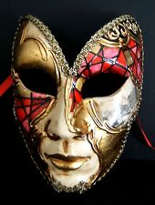 MAR6 BUTTERFLY MASK, HANDMADE IN ITALY, PAPIER MACHE, HANDPAINTED RED/GOLD.