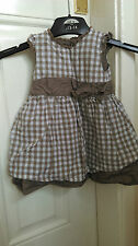 Girls dress 3-6 months brown and white checked from Mothercare B7