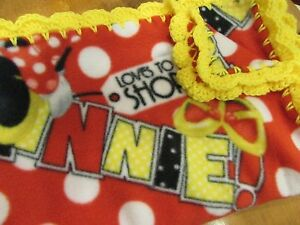 Red Fleece With White Polka Dots Minnie Mouse Girl Baby Blanket With Yellow Edge