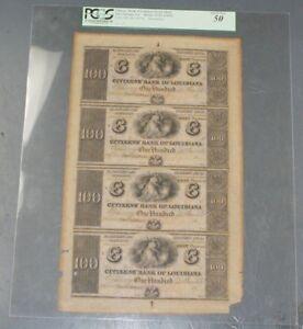 Citizens' Bank of Louisiana $100 Uncut Sheet New Orleans LA Haxby 15-X7 PCGS 50