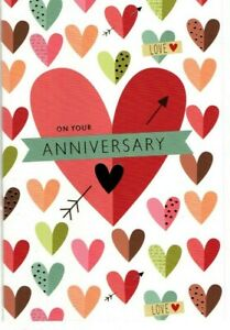 Anniversary Card~Contemporary~Modern~Pinks~ Reds~ Hearts ~Love~Friend ~Free P&P