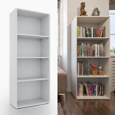 VICCO XL Bücherregal 155 x 60 cm 4 Fächer Weiß - Holzregal Bibliothek Büroregal