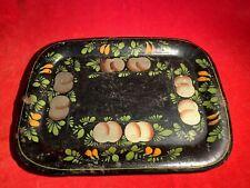 Antique Pre Civil War Era / Circa 1850 Toleware Decorated Serving Tray / Platter