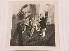 Vintage Old 1940s Photo Boy & Girl with His and Her BICYCLES Bikes in Ohio