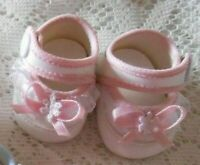 """Doll Shoes 2 1/4"""" (6cm) White-PINK Trim fit Tiny Tears 15"""""""