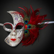 Half Peacock Feathers Venetian Masquerade Mask for Women M1164 [Red]