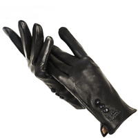 Warm Women's Genuine Leather Gloves Winter Buckskin Cashmere Lining Soft Mittens