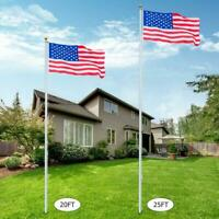 25Ft Sectional Flagpole Kit Outdoor Aluminum Halyard Pole /w lot2 US Flags USA