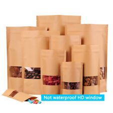 100pcs Kraft Paper Food Bag Packaging Stand Up Bag Zip Lock Pouch With Window