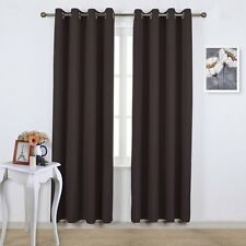 Nicetown Blackout Curtains Thermal Insulated Solid Grommet Panel Pair (Brown)