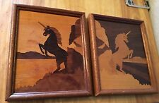 2 Wood Inlaid Marquetry Picture Of Unicorns Different Wood Types