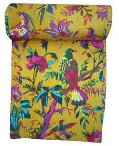 Indian Handmade Bird Print Kantha Quilt Reversible Bedspread Twin/Queen Cotton