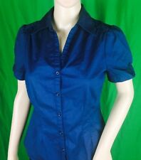 ANA A New Approach Blue Stretch Cotton Blend Button Up Short Sleeve Shirt Size S