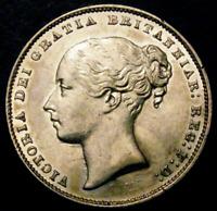 1865 AU Queen Victoria British Silver Shilling Coin Die number 110