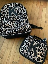 Justice Sequin Leopard �K� Backpack & Lunchbox Set used
