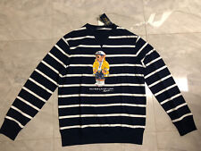 NWT Polo Ralph Lauren Men's CP-93 Bear Mesh L/S T-Shirt Navy/White Striped - M