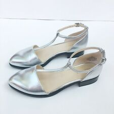 NEW Nine West Ninemineo Silver Metallic T Strap Flats Mary Jane d'Orsay Size 8