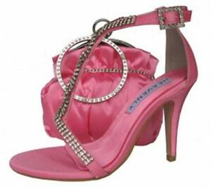 Ladies Wedding Party Heel Shoe Evening Sandal Diamante Candy Pink NEW