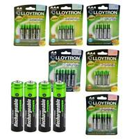 Genuine Lloytron Rechargeable AAA AA NiMH High Power Batteries - Dect, Solar etc