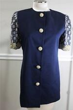 Rickie Freeman for T. J. NITES  navy blue JEWEL RHINESTONE jacket size 6 (DR100)