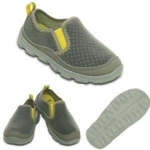 NWT CROCS Duet Sport Toddler Boys Slip-On Sneakers Smoke & Lemon Size 11