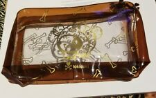 New Tokidoki Clear Brown Zip Up  Makeup Travel Bag Gold Detail Bone Accents
