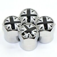 x4 GREY UNION JACK Dust Caps Logo UK 3D Metal Chrome Valve Covers MINI Rover MGF