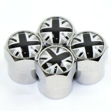 x4 GREY UNION JACK Dust Caps Logo UK 3D Metal Chrome Valve Fits MINI Rover MGF