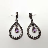 Marcasite & Amethyst Sterling Silver Earrings