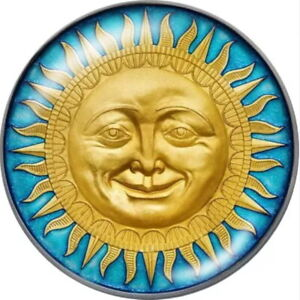 Glass Yellow Smiling Sun Face Teal 18mm Snap Charm For Ginger Snaps