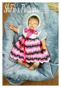 Knitting Pattern for Baby Dress & Bonnet, 0–3mths, 3–6mths, 6-9mths, Double K...