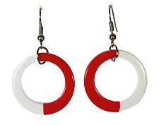 COOL RETRO VINTAGE POP ART INSPIRED BOLD RED / WHITE HOOP EARRINGS(ZX10/138)