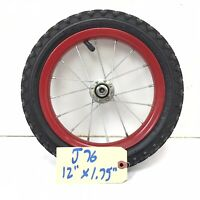 """Complete 12"""" Front Red Bicycle Wheel w/ 12 1/2"""" x 1.75"""" Tire Toddlers Bike #j76"""