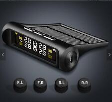 Solar TPMS Car Tire Pressure Monitor System Wireless Alarm LCD 4 External Sensor