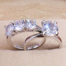 White Sapphire Wedding Ring Size 8 2pcs/set Fashion 925 Silver Women Rings