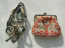 Vintage Antique lovely Women's Art-Deco Purse beads glass handbag