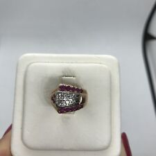 Antique retro 14k rose gold platinum diamond ruby ring geometric wide band pinky