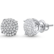 Round Micro Pave Cubic Zirconia .925 Sterling Silver Stud Earrings