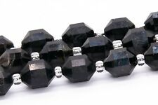 9x8MM Black Tourmaline Faceted Bicone Barrel Drum Grade A Natural Loose Beads