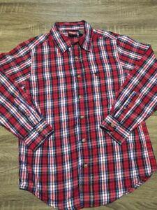 Boys Wrangler Long Sleeve Button Up Red Sz Large 10/12 B29