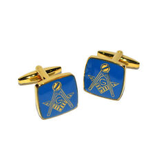 Gold & Blue Masonic Cufflinks with G Presented in a Cufflink Box X2M002