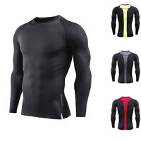 Mens Athletic Shirt Compression Dri-fit Long Sleeve Gym Base Layers Running Tops