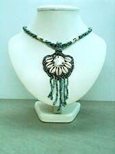 Vintage Jewellery Indian Bohemian Hippy Shell Turquoise Pendant Necklace Wedding